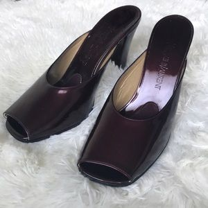 YSL burgundy paten leather mules
